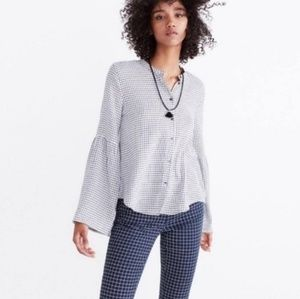 Madewell Grid Plaid Bell Sleeve Shirt Size Medium